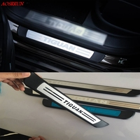 For Volkswagen VW TIGUAN 2010 2016 Stainless Steel Door Sill Strip Welcome Pedal Trim Auto Car Styling Stickers Accessories 4pcs