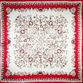 100% Mujeres Bufanda de Seda Bufanda de La Flor Bufanda de Seda Pañuelo 2017 Top Print Media de Seda Cuadrada Bufanda de Seda Hijab Wrap Regalo Caliente para la navidad señora