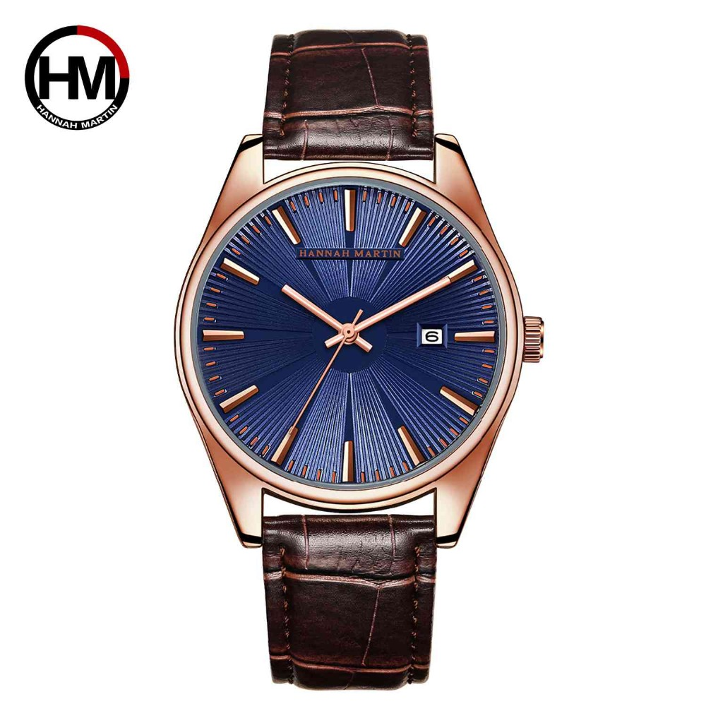 Hannah Martin Japan Quartz Movement High Quality Watch Men Leather Strap Calendar Waterproof Men Ladies Watches Dropshipping in Women 39 s Watches from Watches