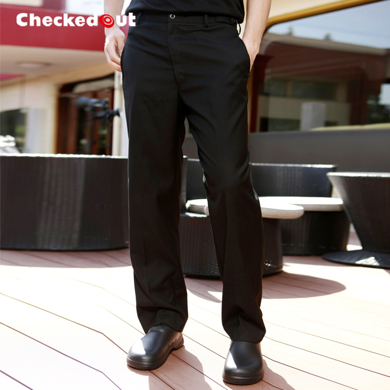 Brands Checkedout Waiter Pants Male Hotel Work Uniforms Mens Chef Pants Black Trousers
