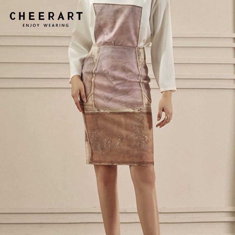 Cheerart Oil Painting Print Vintage Skirt Women High Waist Bodycon Skirt Ladies Fashion Knee Length Skirt Designer Clothing