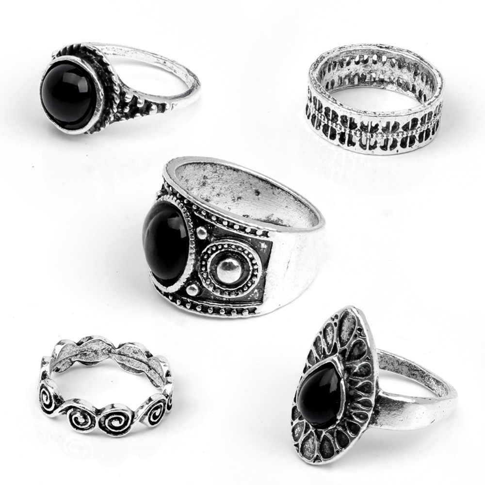 טיפת מים נשים טבעת להגדיר סט תכשיטי קריסטל שחור אביזרי טבעות אצבע אופנה תכשיטי גוף טבעות זהב כסף מצחיקים