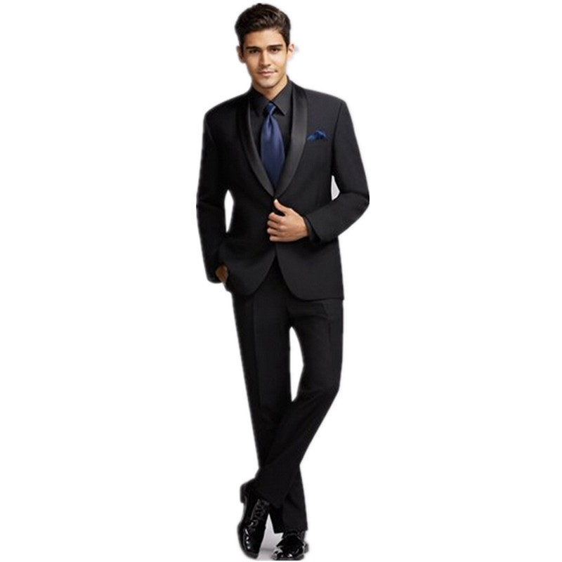 Brand New Groomsmen Shawl Satin Lapel Groom Tuxedos Black Mens Suits Wedding Best Man (Jacket+Pants+Tie+Hankerchief) B708