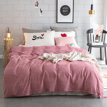 Girls Red Classic Plaid Duvet Cover Set Queen King Size Bedding Sets For Adults White Cute Pillow Case 100% Cotton Bed Linens