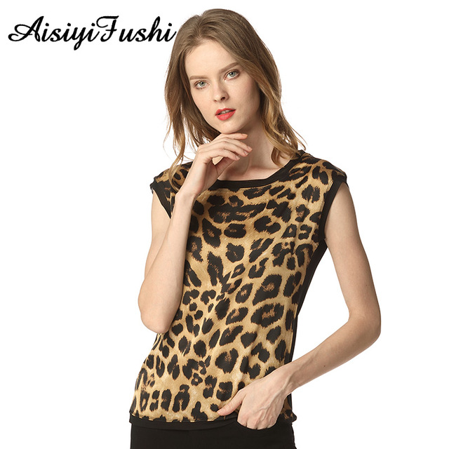 Women's Leopard Print Silk Blouse Summer Leopard Chiffon Shirt Women Casual OL Silk Satin Leopard Print Top Blouse Sleeveless