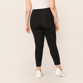 Plus Size Black Solid Leggings