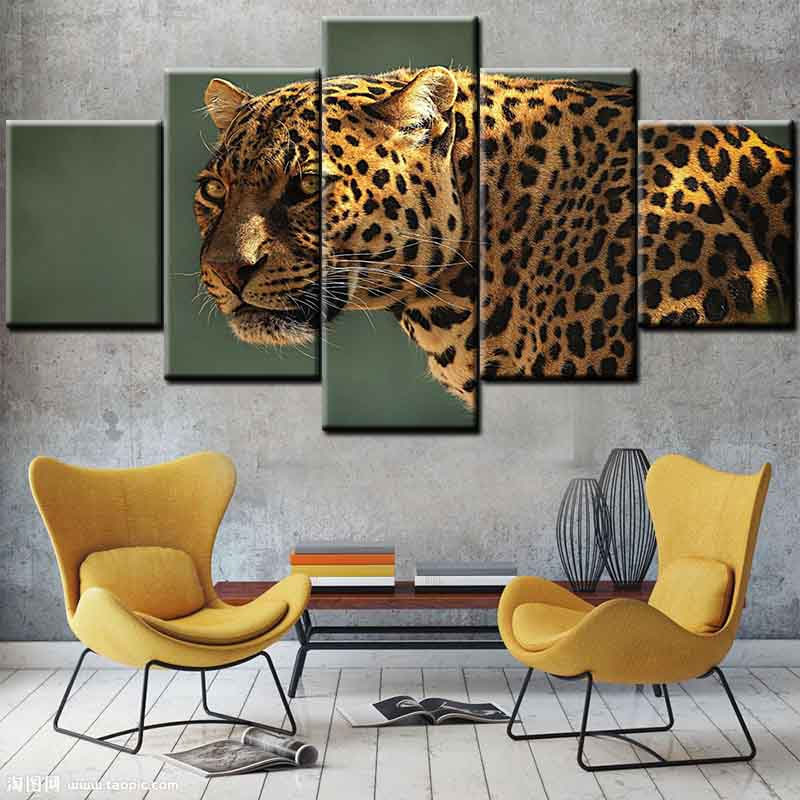 Cheetah Painting Canvas HD Print 5 Pieces Canvas Wall Art