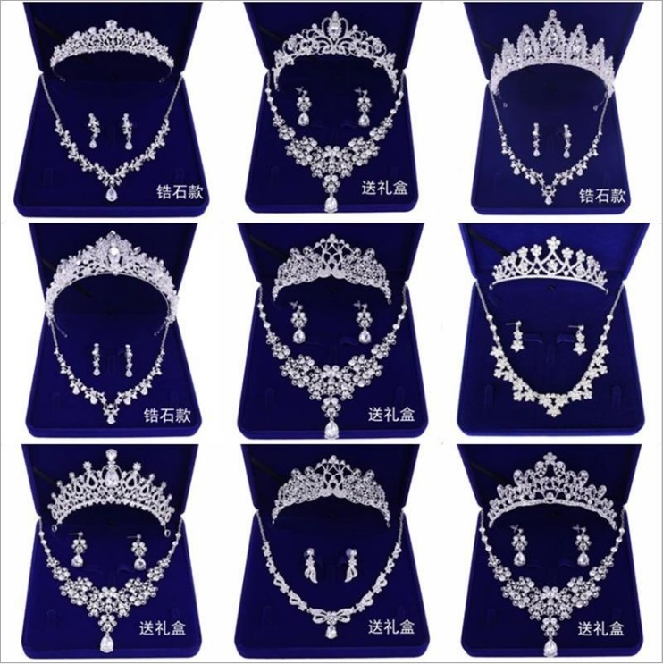 Wedding Sets for Women Bling Bride Hair Accessories Tiaras Earrings Necklace Wedding Jewelry Sets
