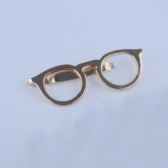 Men Formal Business Alloy Gold Glasses Shape Tie Clip Suits Necktie Clips Tie Bar Clasp Pin Shirt Pocket Jewelry