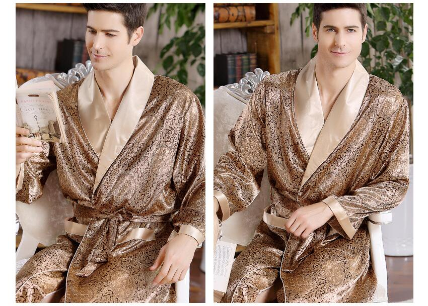 2017 New pajamas set Fashion Man Robe Wholesale  Spring Summer Thin Long Sleeved S Bathrobe Mens