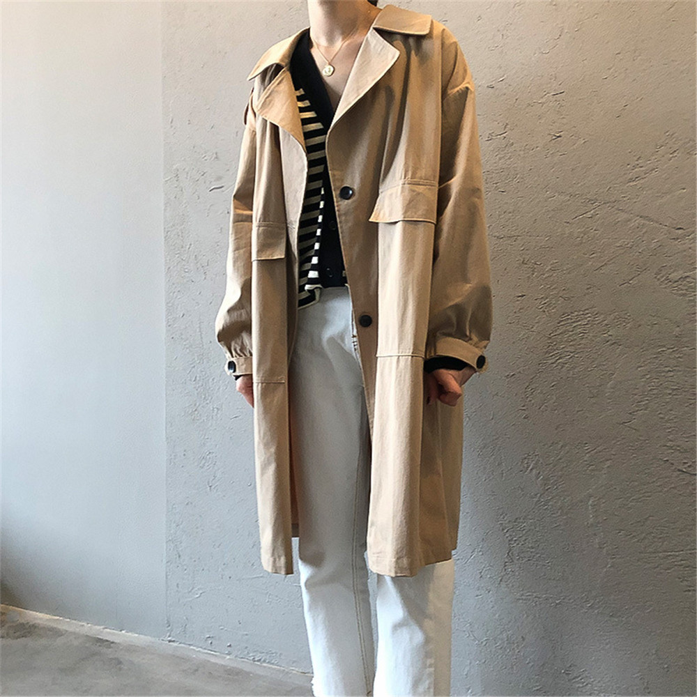 Vintage Cotton Women Coat 2019 Autumn Women's Casual Trench Coat oversize Single Breasted Washed Outwear Loose Clothing 68501 (4)