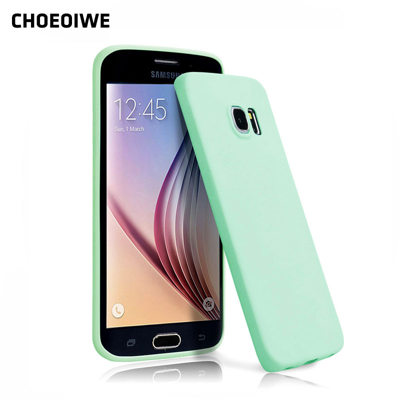 CHOEOIWE Soft TPU Phone Cases for <font><b>Samsung</b></font> Galaxy S6 G9200 <font><b>G920</b></font> G920F <font><b>SM</b></font>-<font><b>G920</b></font> Silicone Case Candy Colors Pink Case Cover Capa image