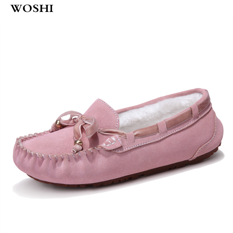 winter Loafers Women Flats Shoes with fur warm Casual Soft cow suede Leather shoes Slip on Lady Moccasins Boat Shoes women k5 timetang casual cow leather women shoes keep warm cotton shoes woman shallow female flats fur loafers plush winter mother c281
