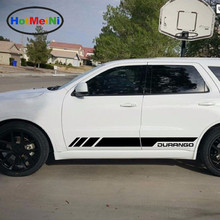 HotMeiNi Car Styling 2x Side Door Stripes Decal Vinyl Kit Car Sticker Car Styling for Dodge Durango 2010-2017 RT GT Sport Light