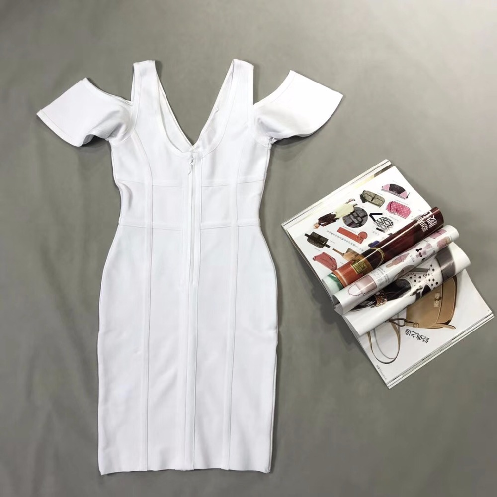 2018 Vestito Corta Bianco Manica Alta Partito V Scollo All'ingrosso A Dalla Qualità Donne Del Delle Vestiti Con Celebrità Di Fasciatura Elegante Nuovo Arrivo r4aqr0