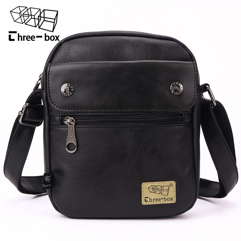 three-box Brand Men Fashion Vintage Shoulder Bag Casual Multifunction Messenger Bag Business High Quality Crossbody Bags Bolsa
