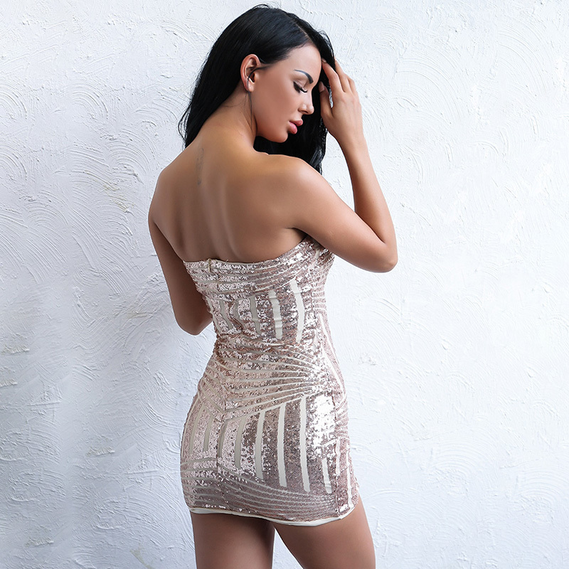 Yissang Sexy Backless Gold Sequin Dress Women Elegant Bodycon Off The Shoulder  Dresses Strapless Vintage Clothes-in Dresses from Women s Clothing on ... 745f7a45d014