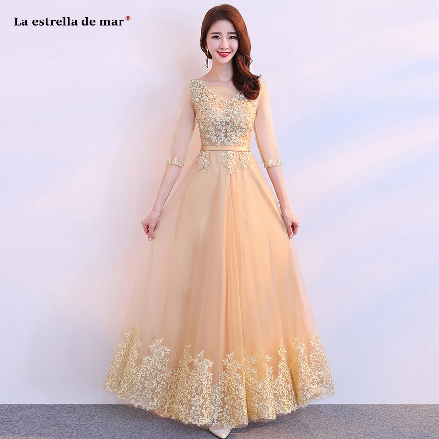 Vestido Madrinha New Scoop Tulle Beaded Half Sleeve A Line Gold Bridsmaid Dresses Long Cheap Gaun Pesta Dewas Robe Demoiselle H