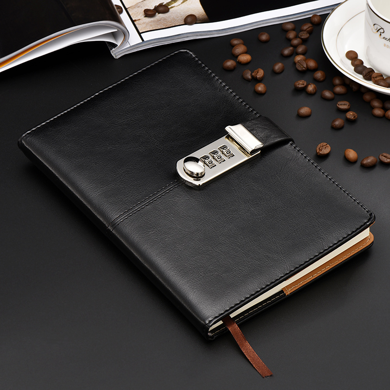 Hot stationery Notebook paper 100 sheest A5 Diary with lock code Bussiness  paperback creative Trends leather Notepad gift