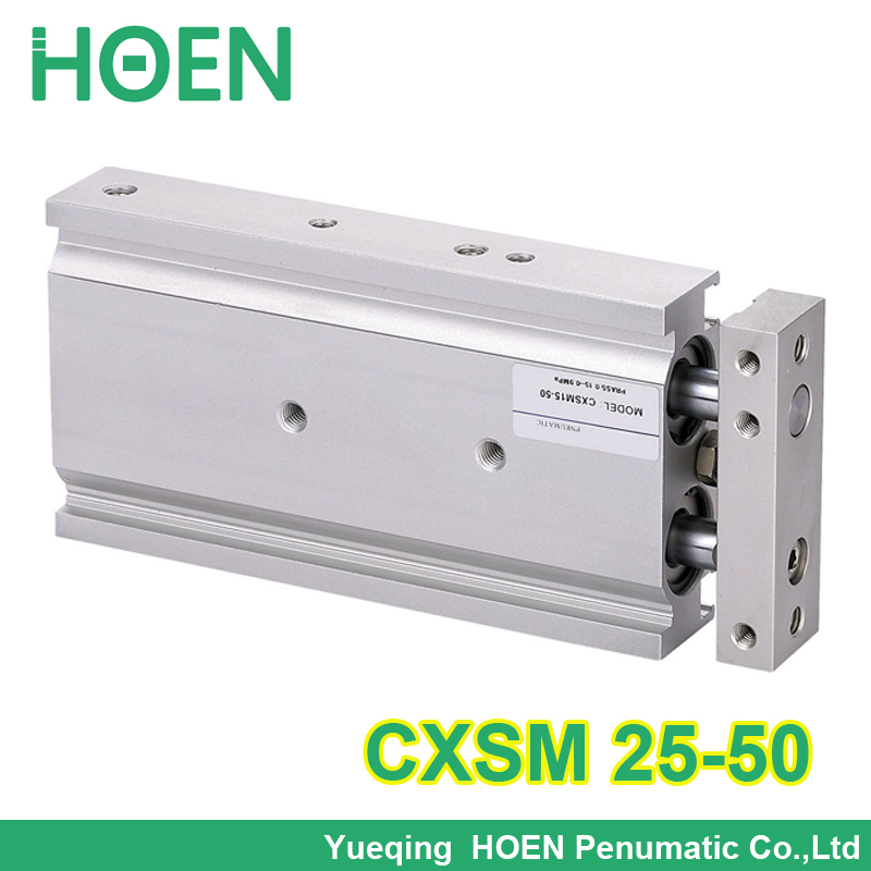 CXSM25-50 High quality double acting dual rod air pneumatic cylinder CXSM 25-50 25mm bore 50mm stroke with slide bearing general model cxsm32 50 compact type dual rod cylinder double acting 32 40mm