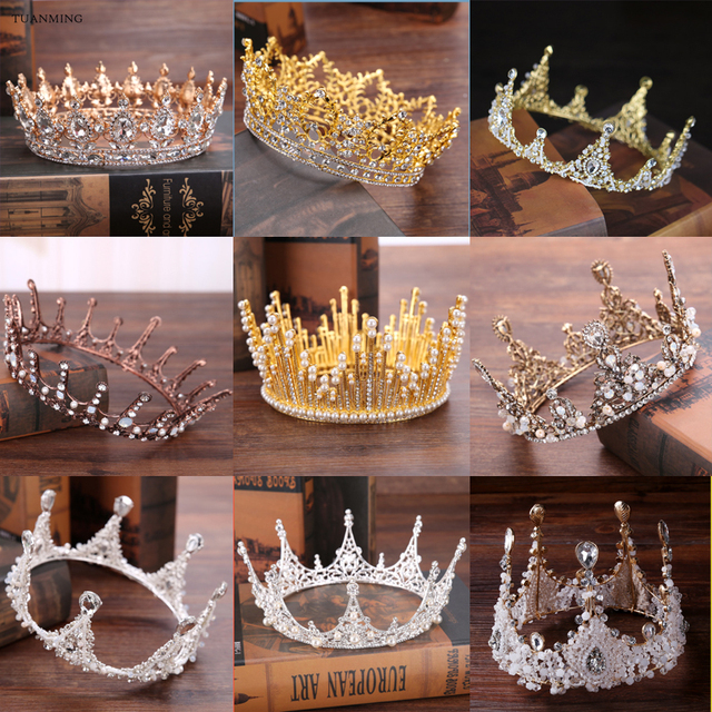 Baroque Gold Silver Wedding Hair Accessories Crystal Tiaras Crowns Pearl Handmade Bridal Round Crowns Hair Jewelry For Women