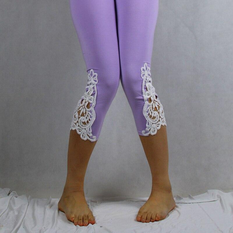Babbytoro Leggings Woman 2019 Modal Cotton 3/4 Capris Soft Short Opaque Jeggings Crochet Lace Plus Size 7XL 6XL 5XL XS Red Pink