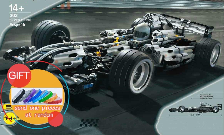 303 1486Pcs Technik Silver Champion Racing Children Educational Model Building Kits Brick 8458 Toys Gift 21001 05033 lepin brick master 303 беседка