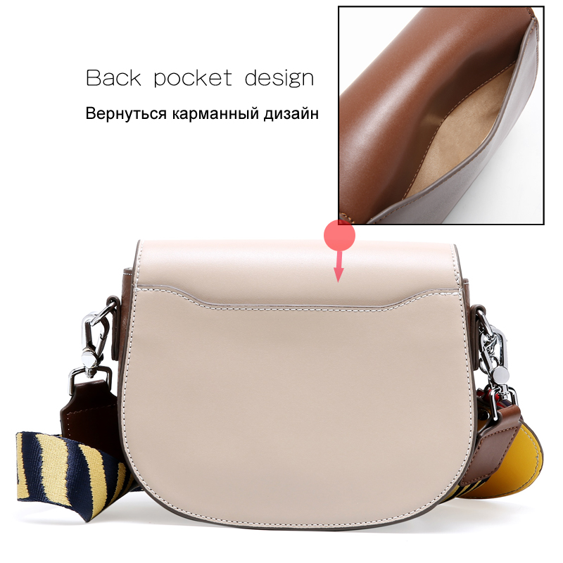 ESUFEIR New 2019 Genuine Leather Women Saddle Bag Fashion Cross body Bag Female Shoulder Bag Small Cover Bags bolsas feminina-in Top-Handle Bags from Luggage & Bags    2