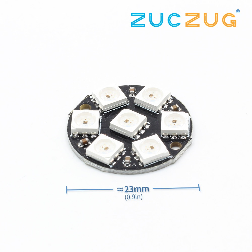 7 bit 7 bits leds ws2812 5050 rgb led ring lamp light with integrated drivers for arduino