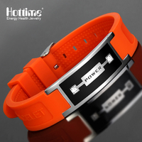 Hottime Orange Men S Health Bracelets Bangles Magnetic Power Energy Stainless Steel Charm Bracelet Fashion Jewelry