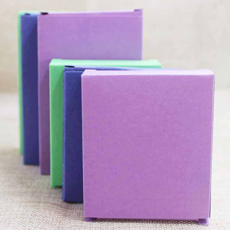 Feiluan 30pcs Multi Size Paper Candy Favor Box ,lovely Products Gifts Display& Package Box Purple/blue/ Lemon Green Box Gift Box