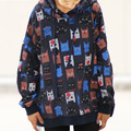 Historieta de las mujeres cat imprimir casual con capucha sudaderas con capucha sudaderas fleece invierno camisas casuales 2017 sueltos pullovers lindo más tamaño