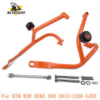 For KTM R2R DUKE390 2013 1206 GZKX Lower Crash Bar Bumper Tank Protection Frame Guard Protective Steel Glossy Orange color