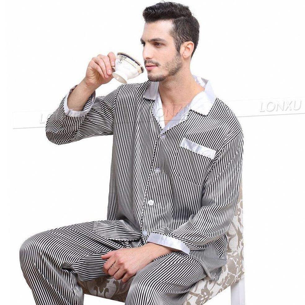 Image 4 - Мужские шелковые атласные пижамы набор пижамы Пижамный Набор пижамы Домашняя одежда S ~ 4XL большие и высокие-in Пижамные комплекты для мужчин from Нижнее белье и пижамы on AliExpress - 11.11_Double 11_Singles' Day