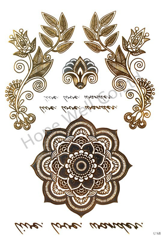 2 sheets Fashion Totem Retro Flower Silver and Gold Flash Tattoo Temporary Metallic Tattoo Sticker Tatuagem for Women Beauty 1