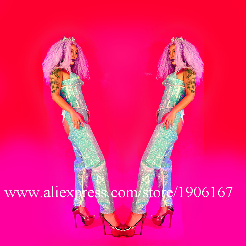 Couleur bleue discothèque DJ DS femmes scène Performance Costumes avec perruques couronne soirée événement robe danse équipe vêtements tenue