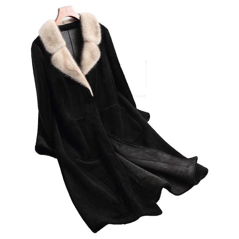 Vêtements Veste 2018 Manteau Daim Hiver Peau De Zt919 Black Réel En Coréenne 100 Mouton Laine Vison Fourrure Vintage Automne Moutons Femmes Linling f4gtcWp4P