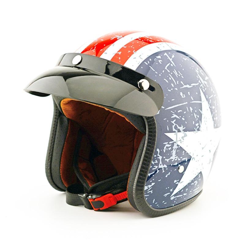 Brand Casco Vintage Motorcycle Helmets Man Women Harley Scooter Jet Helmet Pilot Open Face Vespa Helmet Pare Moto DOT ABS