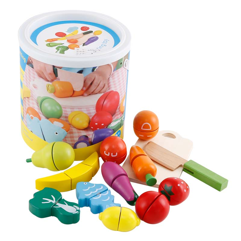 Children Early Childhood Play House Magic Stickers Wooden Fruit and Vegetables Cut to See the Barrel Baby Intellectual Toys 2018
