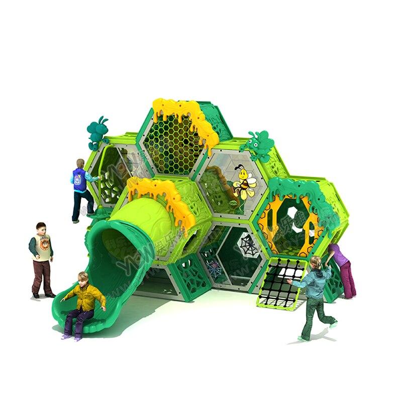 Детский сад сотовая горка пластиковый лабиринт дрель отверстие детская надворная конструкция для скалолазания крытые горки для детей