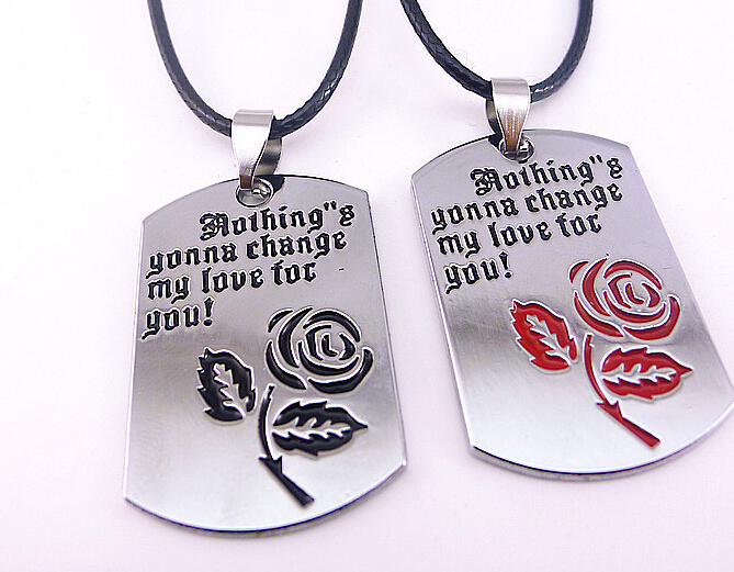 2105 New Couple Necklace Letter Necklace Rose Best Valentines Day