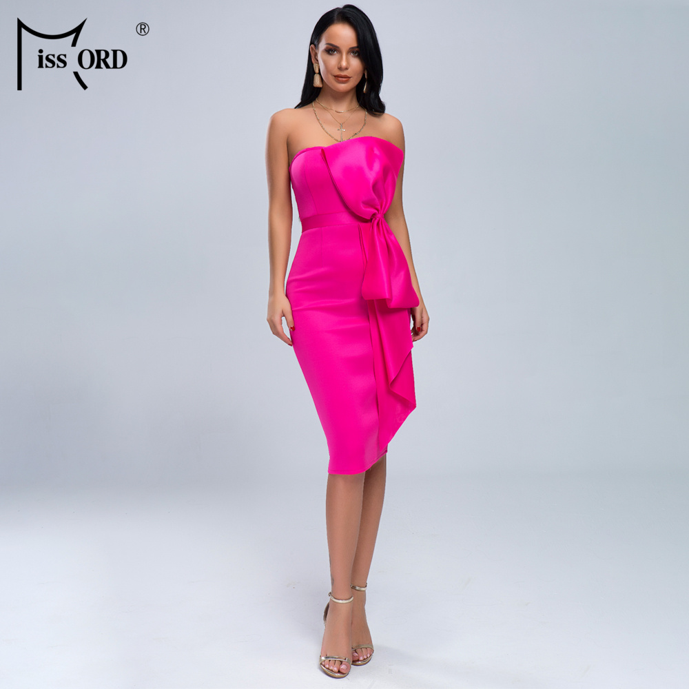Missord 2020 Women Summer Sexy Off Shoulder New Bow  Dresses Female Elegant Solid Color Knee-length Bodycon  Dress  MQ19051