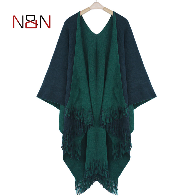 Image 3 - Women Cardigans Solid Shawls Knitted Poncho Blanket Oversized Reversible Reversed Sided Scarf Tassel Fashion Poncho And Capes-in Women's Scarves from Apparel Accessories