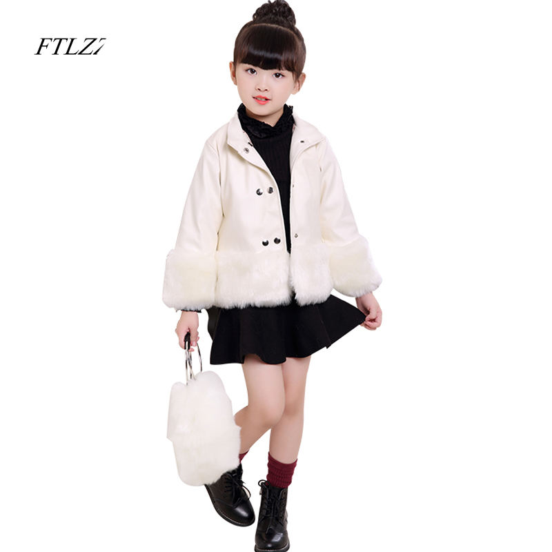Winter Kids Girl's Coats Autumn Pu Leather Fox Faux Fur Collar Jacket Thicken Down Parkas Coat Princess Outerwear Fur Coat 2016 new hot winter thicken warm woman down jacket coat parkas outerwear hooded fox fur collar luxury slim mid long plus size xl