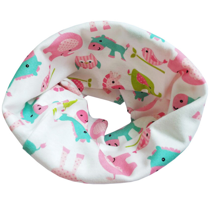 Новинка; Модный хлопковый шарф для маленьких девочек; осенне-зимний шарф для маленьких мальчиков; Детский шарф с круглым вырезом; Детские шарфы; волшебный шейный платок - Цвет: Pink Elephant