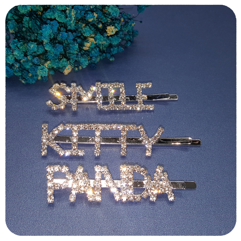 British Style Bobby Pins Blingbling Crystal Word Hair Pins Accessory Jewelry Wholesale