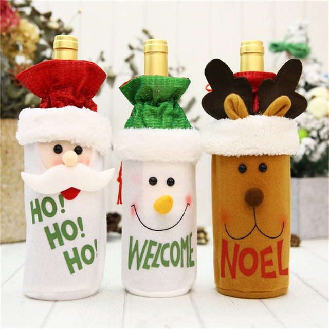 Hoomall 1PC Home Dinner Party Table Decors Wine Cover Christmas Decorations Santa Claus Snowman Gift Navidad Xmas Party Supplies 1