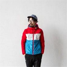 Горячая Осень И Зима 2015 мужской Личности Хит Цвет Шить Толщиной С Капюшоном Мода Красный, белый, синий Шить Куртки Хлопка