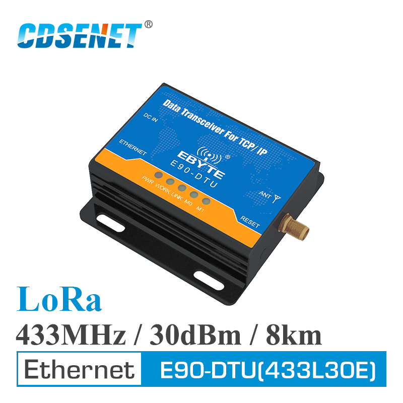 Ethernet LoRa 433MHz 30dBm 1W Long Range Wireless Transceiver E90 DTU 433L30E IoT PLC 8000m Distance