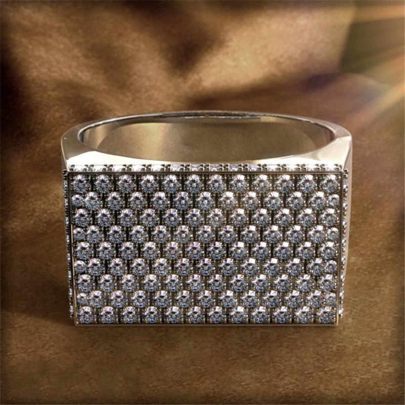 Hiphop ชายแหวน 925 เงินสเตอร์ลิง Pave การตั้งค่า AAA CZ หรูหราเครื่องประดับหมั้นงานแต่งงานแหวนผู้ชาย Rock นิ้วมือแหวน